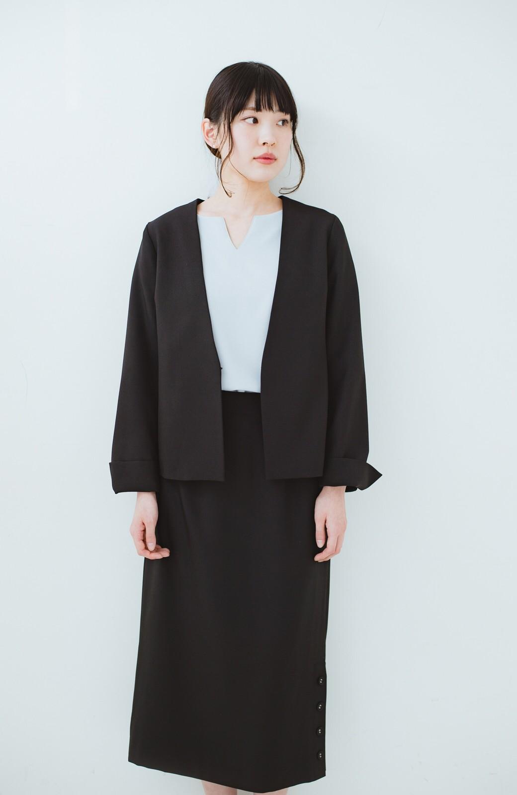 haco! 持っていると便利な野暮ったくならないフォーマルジャケット・スカートの2点セット <ブラック>の商品写真5