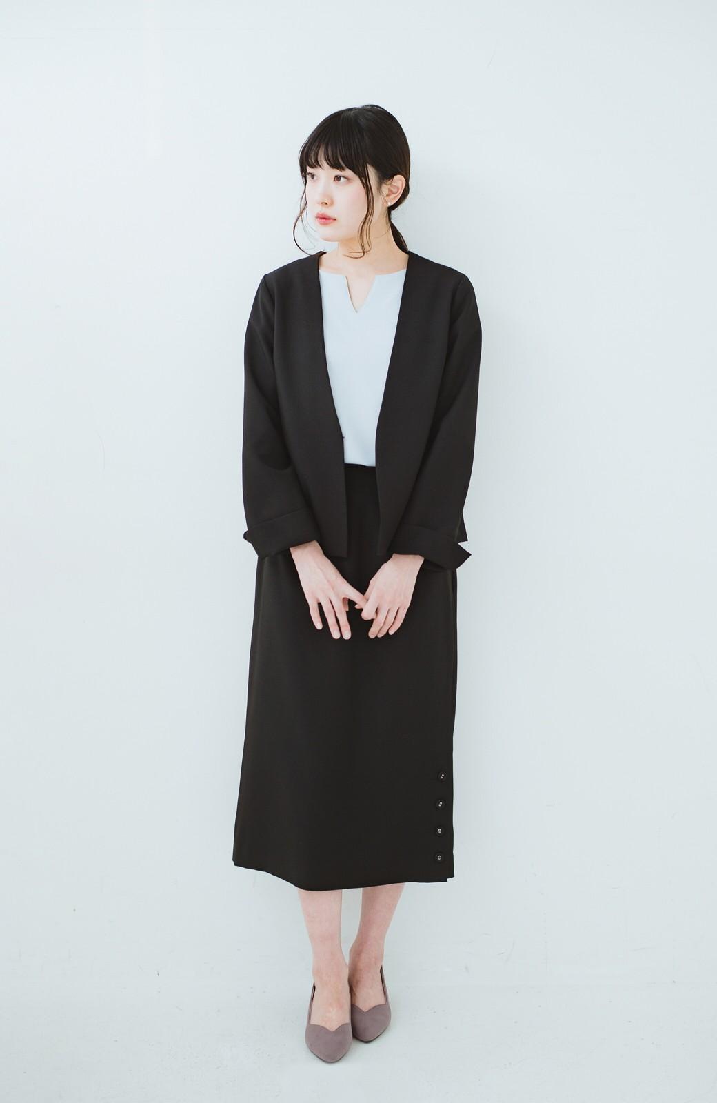 haco! 持っていると便利な野暮ったくならないフォーマルジャケット・スカートの2点セット <ブラック>の商品写真6