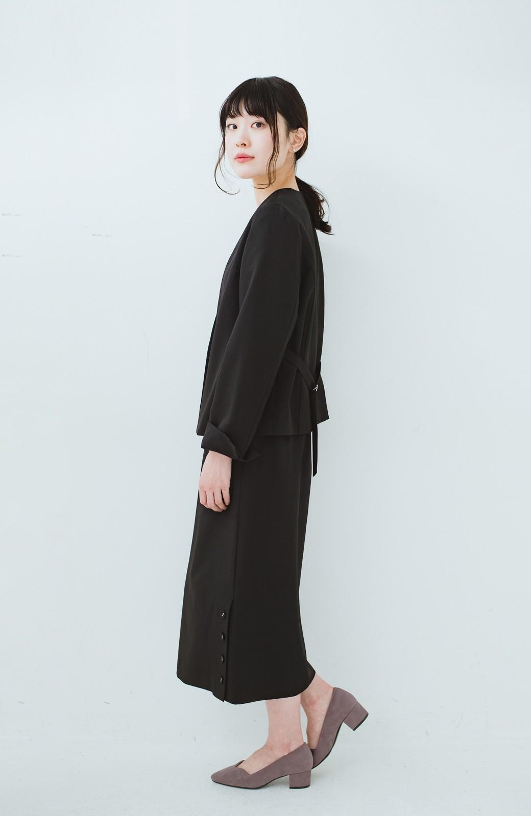haco! 持っていると便利な野暮ったくならないフォーマルジャケット・スカートの2点セット <ブラック>の商品写真7