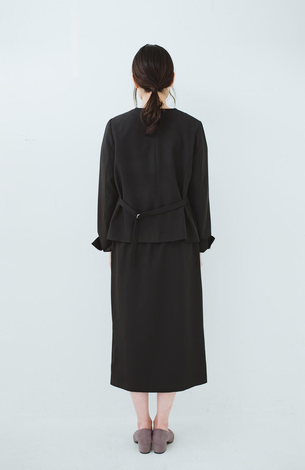 haco! 持っていると便利な野暮ったくならないフォーマルジャケット・スカートの2点セット <ブラック>の商品写真8