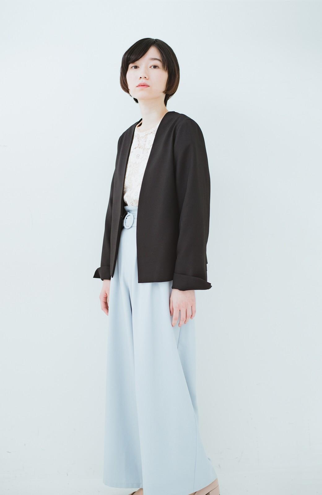 haco! 持っていると便利な野暮ったくならないフォーマルジャケット・スカートの2点セット <ブラック>の商品写真9