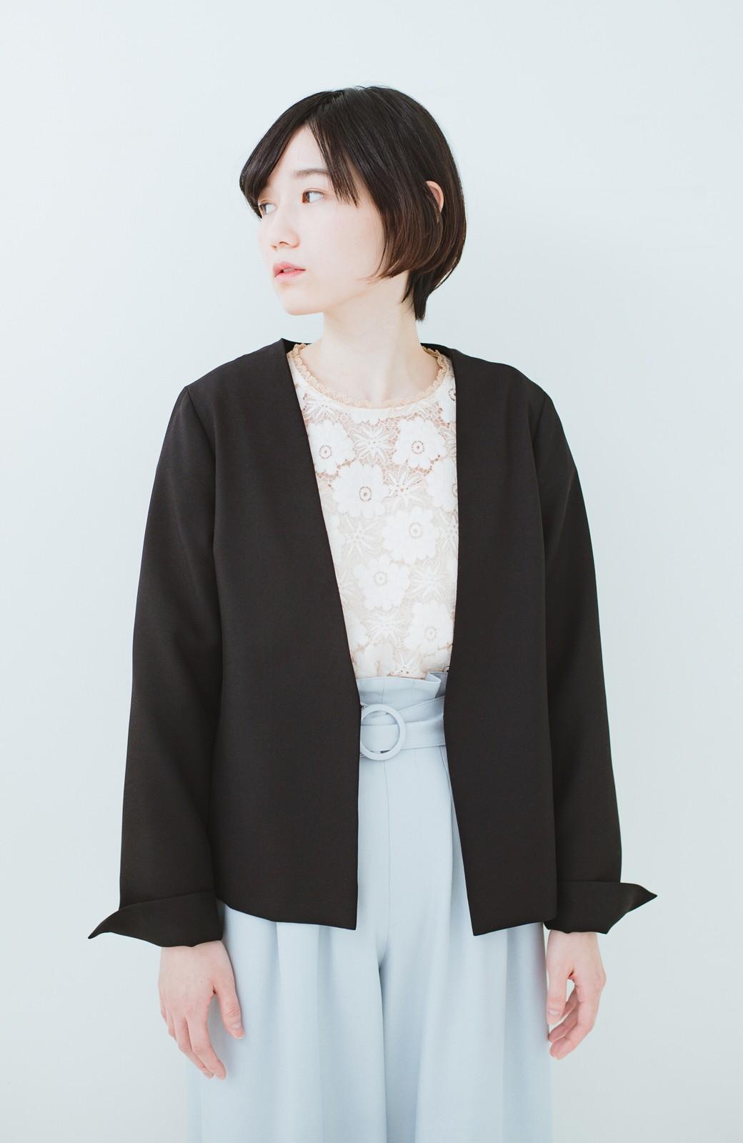 haco! 持っていると便利な野暮ったくならないフォーマルジャケット・スカートの2点セット <ブラック>の商品写真10