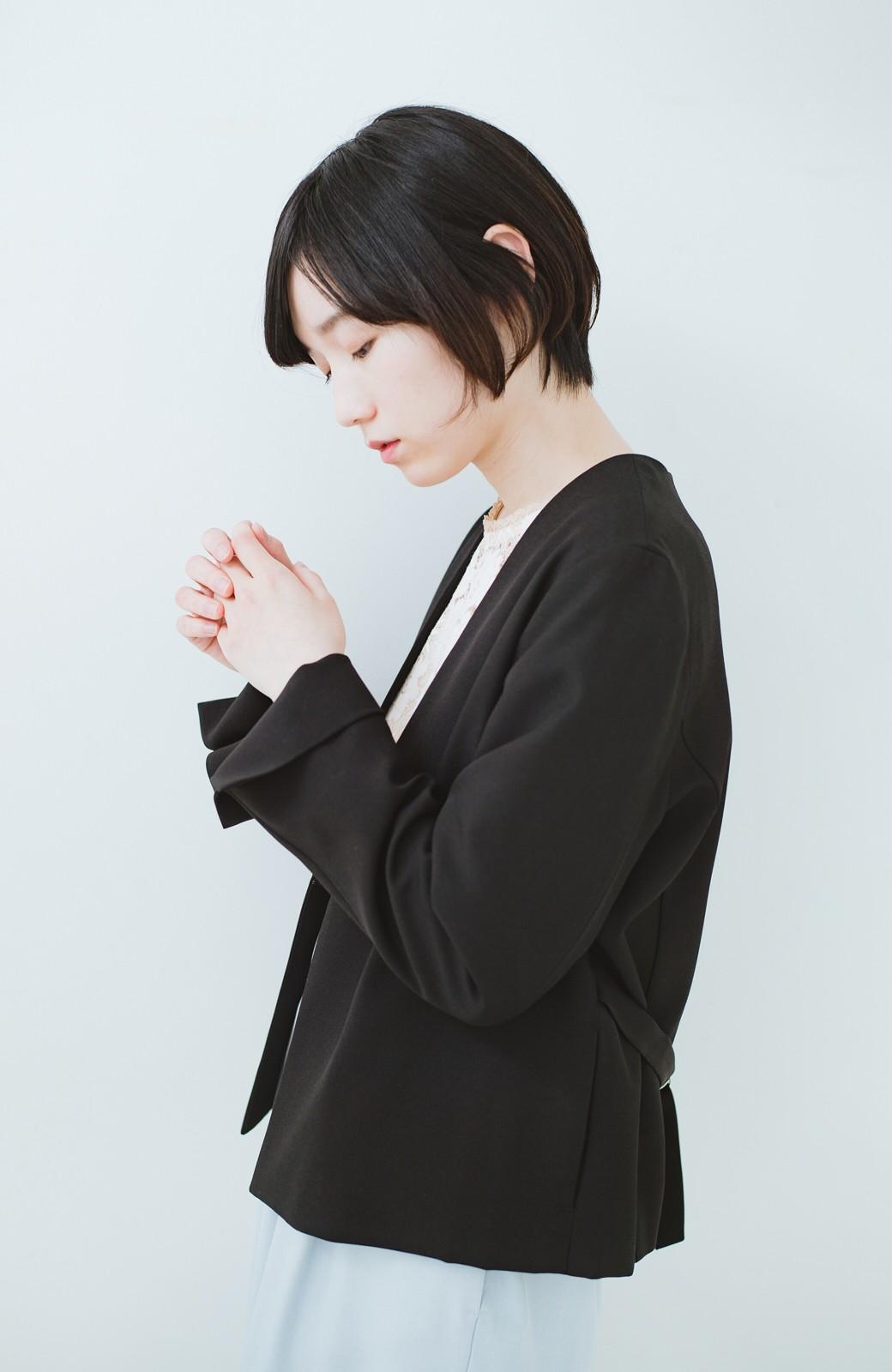 haco! 持っていると便利な野暮ったくならないフォーマルジャケット・スカートの2点セット <ブラック>の商品写真11