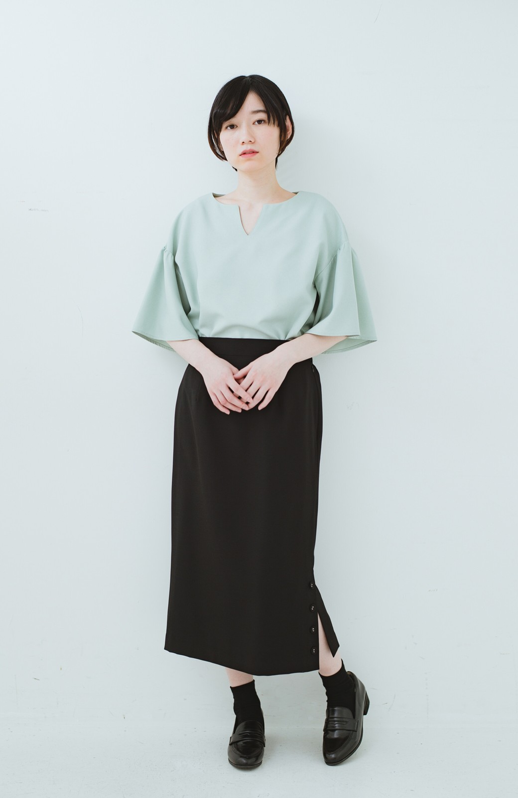 haco! 持っていると便利な野暮ったくならないフォーマルジャケット・スカートの2点セット <ブラック>の商品写真12