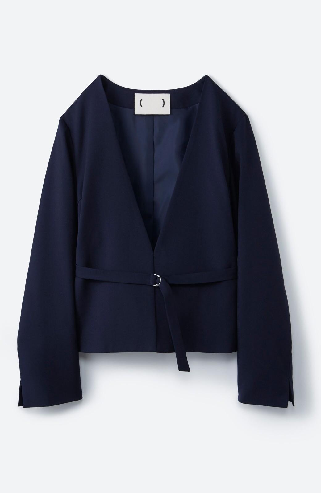 haco! 持っていると便利な野暮ったくならないフォーマルジャケット・スカートの2点セット <ダークネイビー>の商品写真2