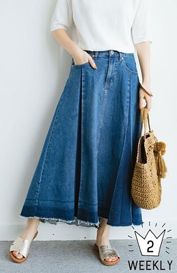 haco! 【再再再入荷!】デニムパネルプリーツスカート <ブルー>の商品写真