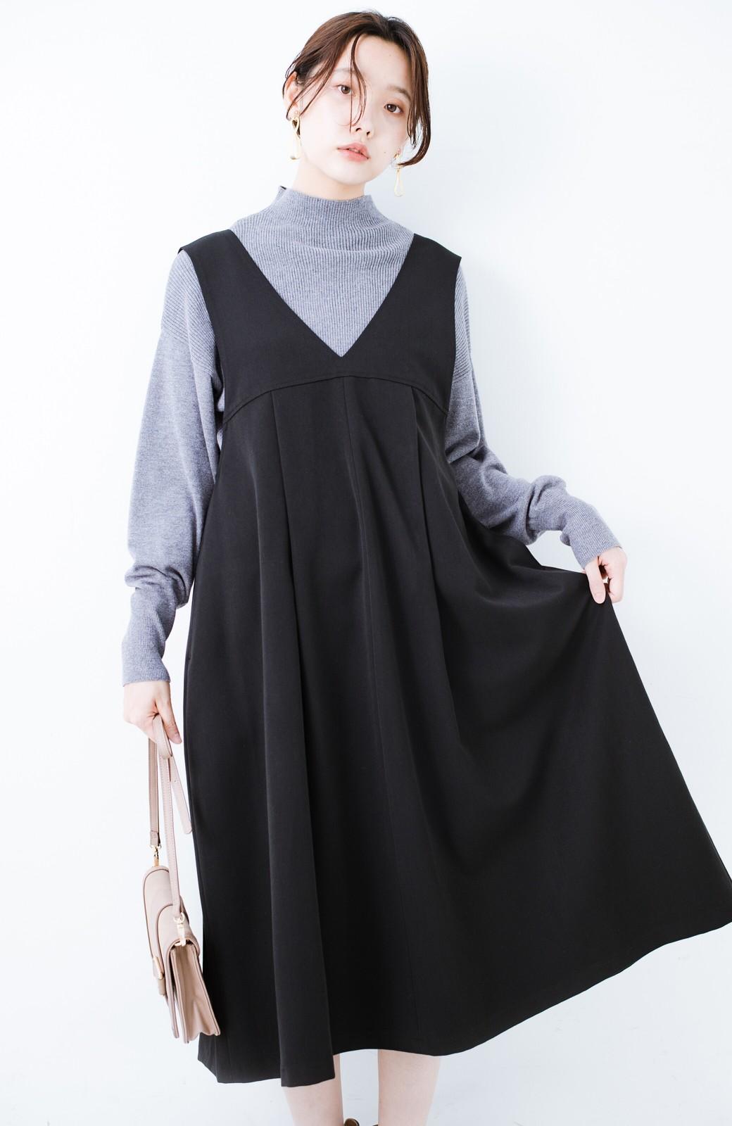 haco! Tシャツにもニットにもずーーっと着られて便利なジャンパースカート <ブラック>の商品写真15