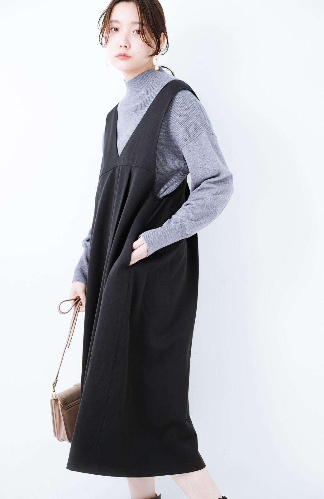 haco! Tシャツにもニットにもずーーっと着られて便利なジャンパースカート <ブラック>の商品写真12