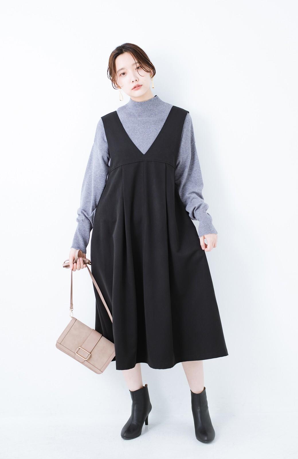 haco! Tシャツにもニットにもずーーっと着られて便利なジャンパースカート <ブラック>の商品写真9