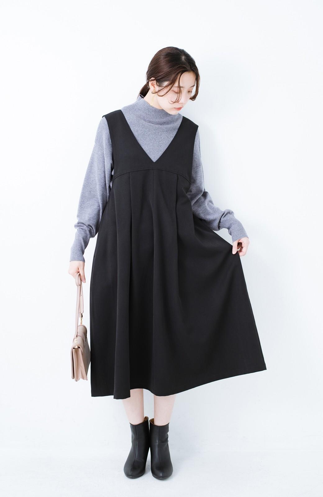haco! Tシャツにもニットにもずーーっと着られて便利なジャンパースカート <ブラック>の商品写真1