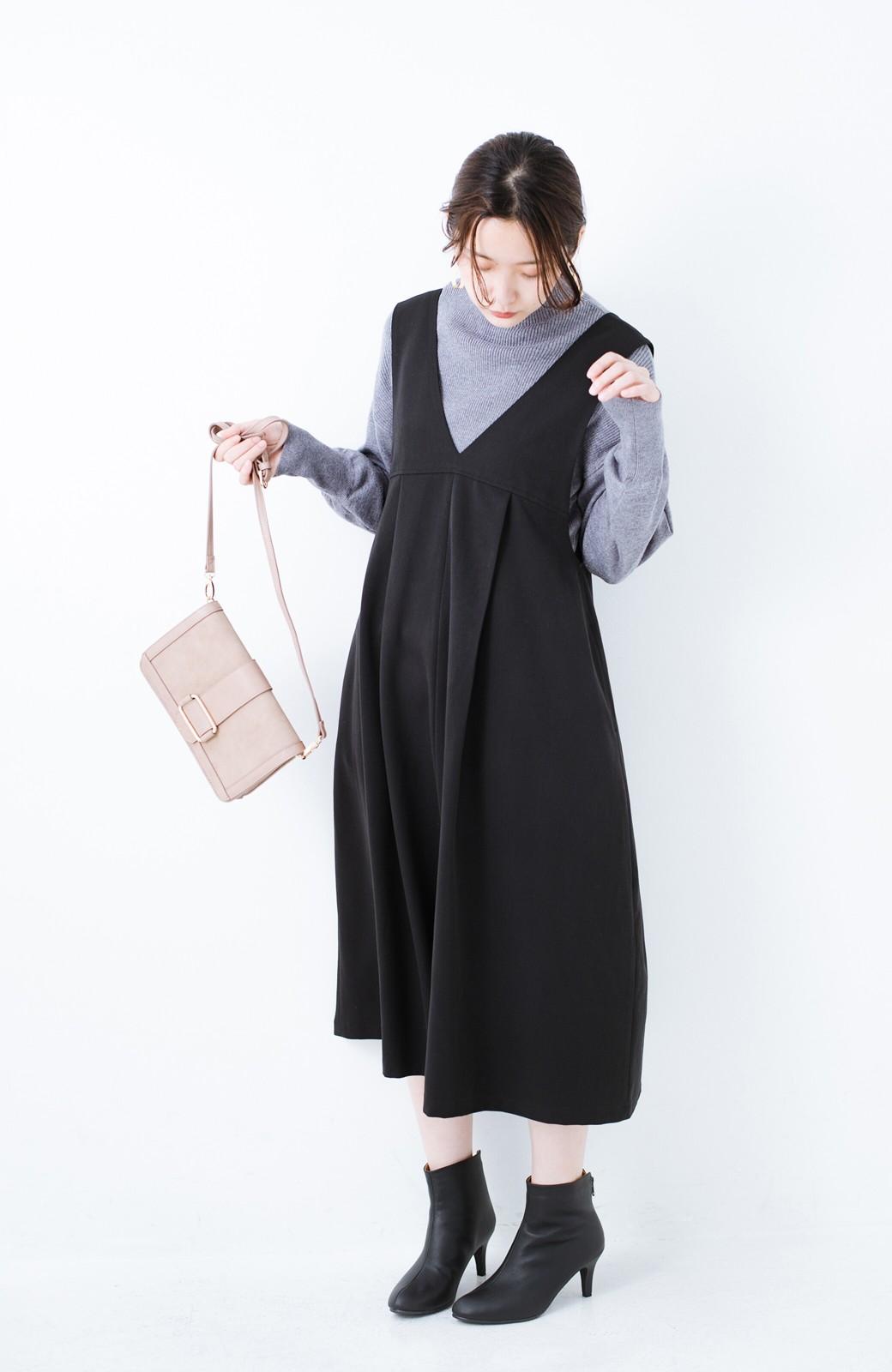 haco! Tシャツにもニットにもずーーっと着られて便利なジャンパースカート <ブラック>の商品写真10