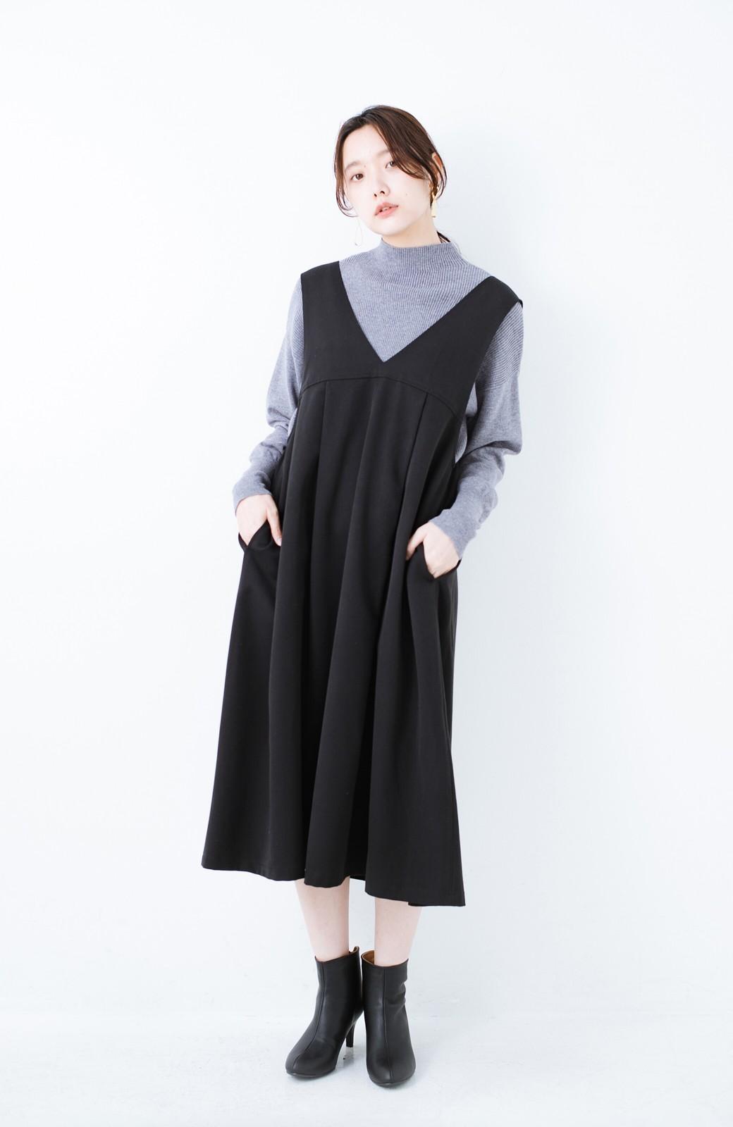 haco! Tシャツにもニットにもずーーっと着られて便利なジャンパースカート <ブラック>の商品写真3
