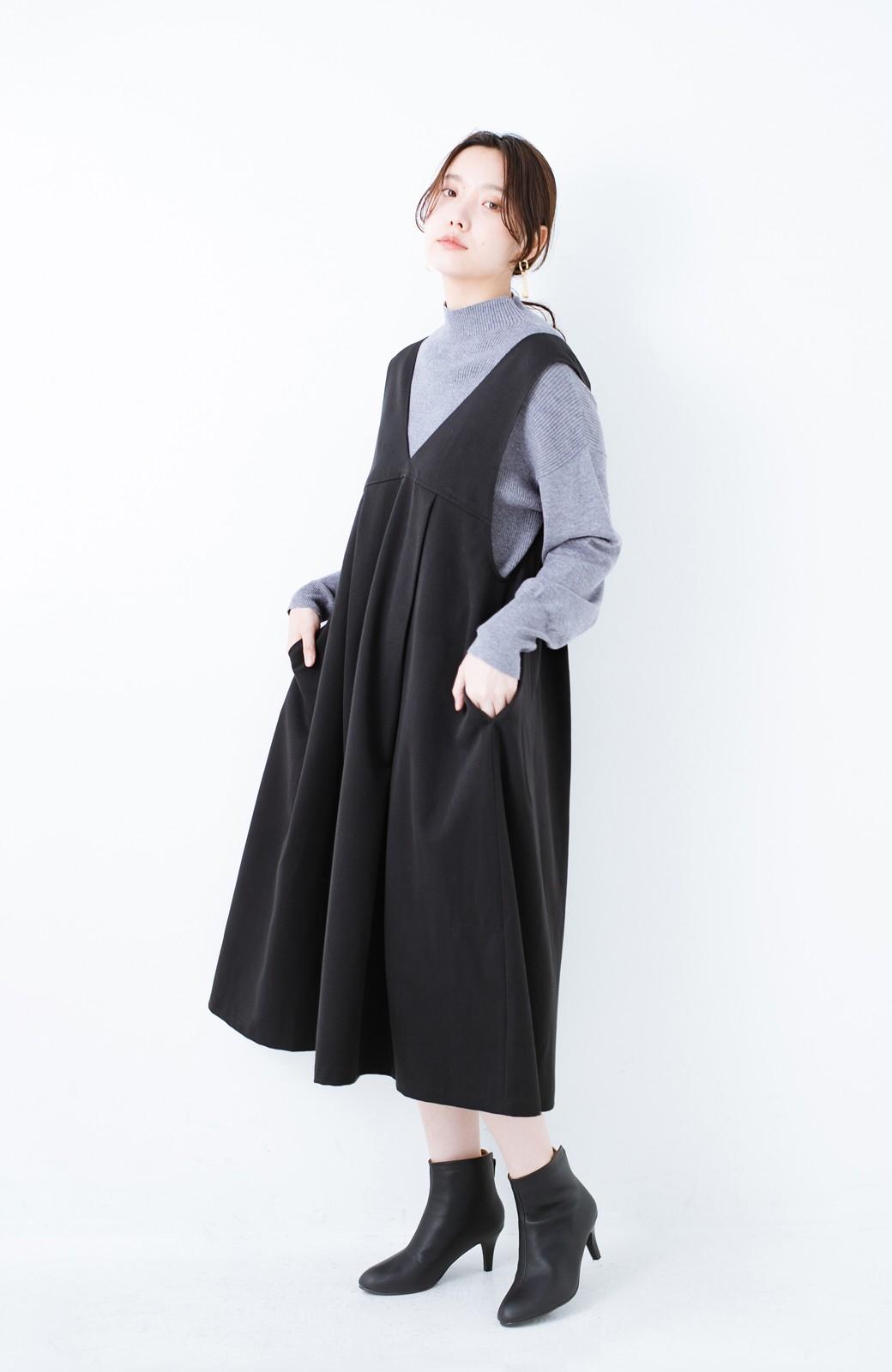 haco! Tシャツにもニットにもずーーっと着られて便利なジャンパースカート <ブラック>の商品写真13