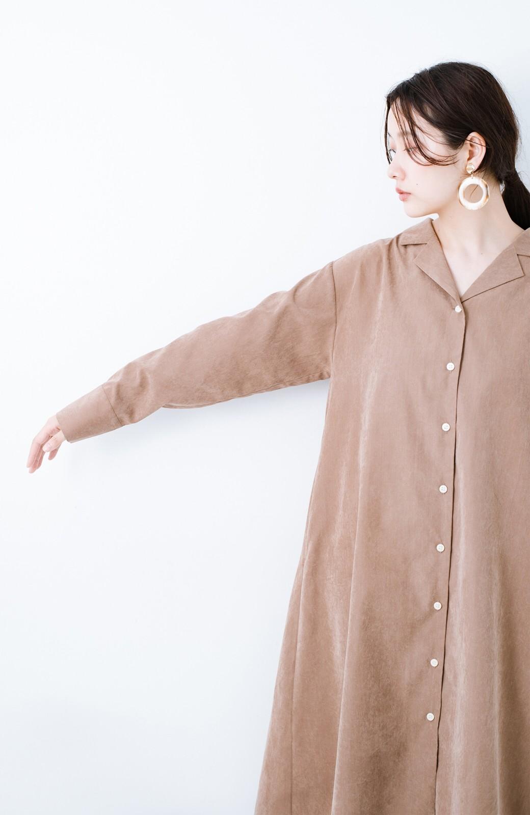 haco! 太ってもばれずに羽織っても便利なAラインワンピース <ブラウン>の商品写真21