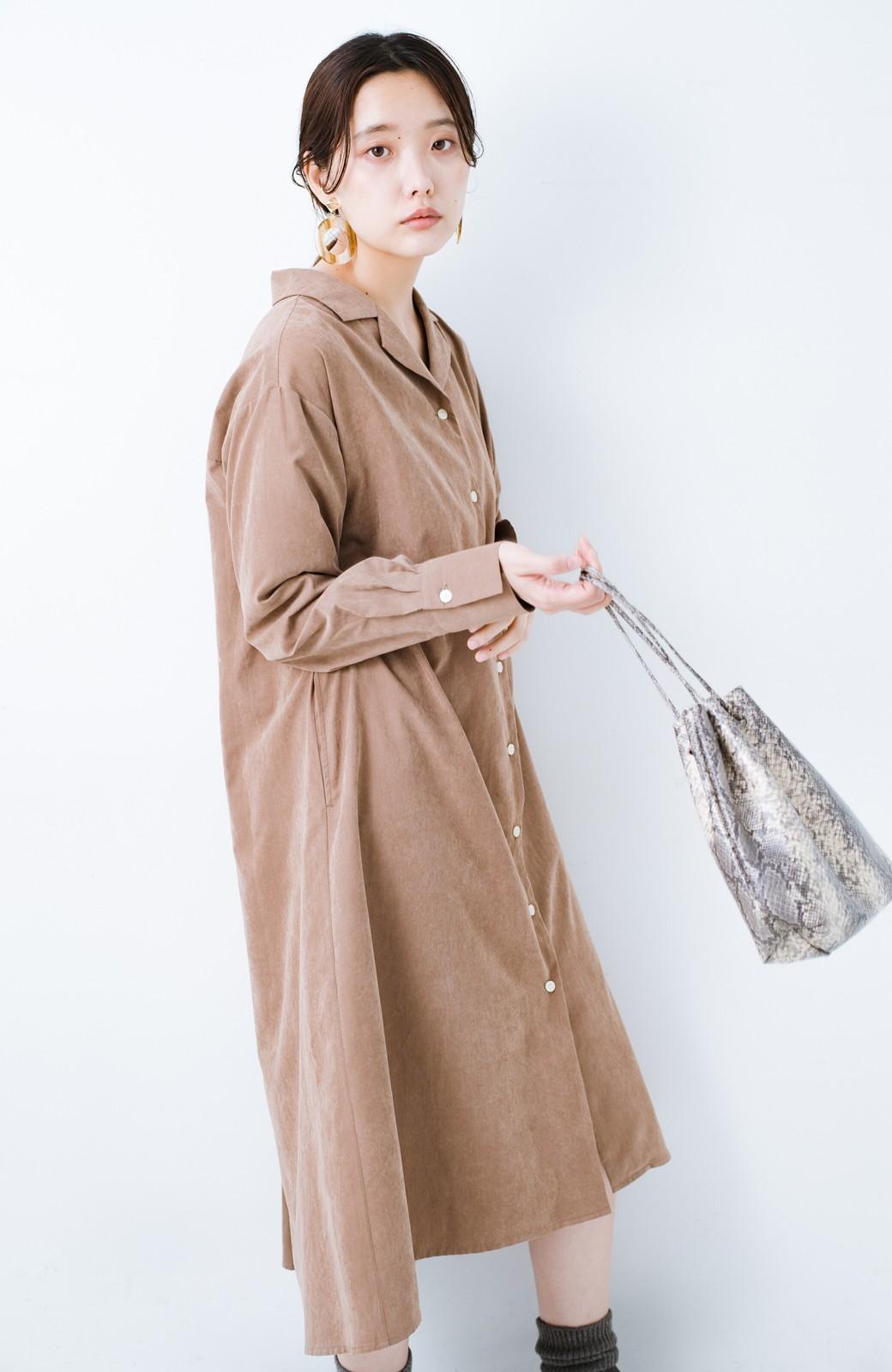 haco! 太ってもばれずに羽織っても便利なAラインワンピース <ブラウン>の商品写真22