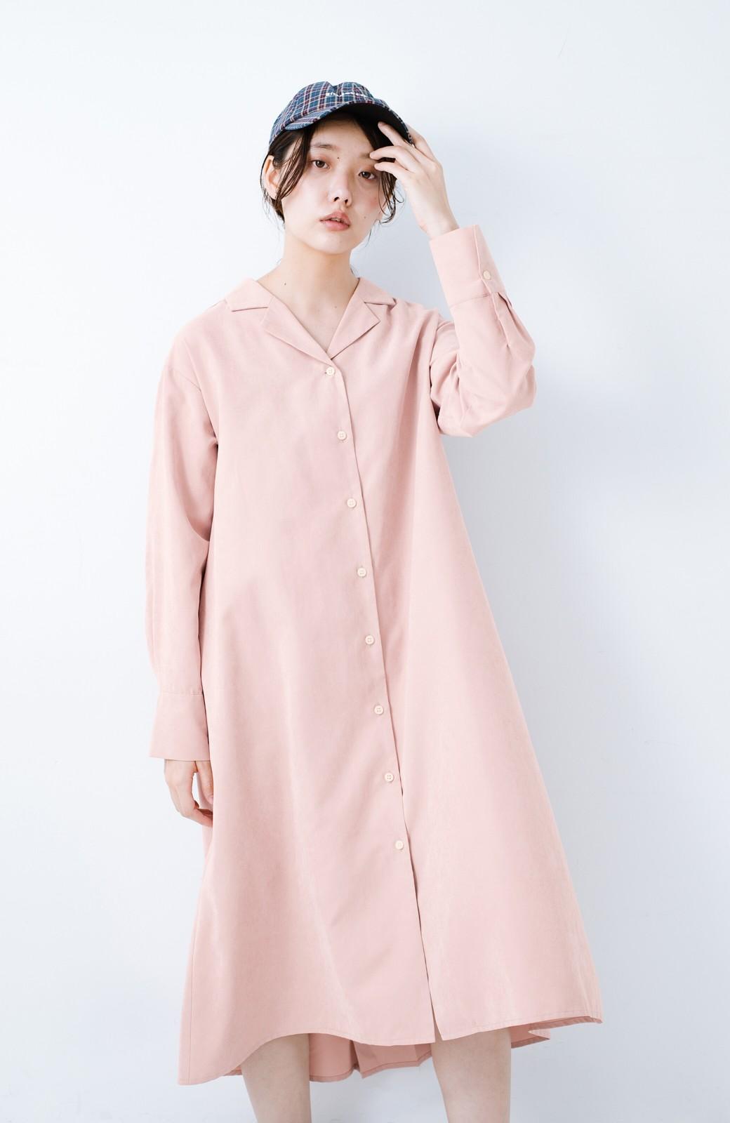 haco! 太ってもばれずに羽織っても便利なAラインワンピース <ピンク>の商品写真10