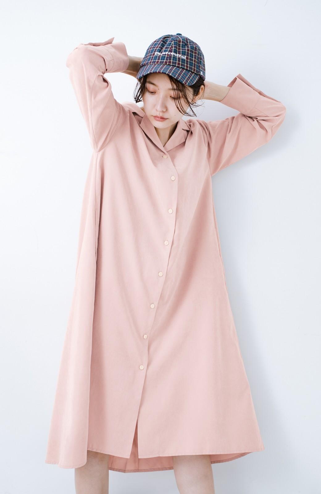 haco! 太ってもばれずに羽織っても便利なAラインワンピース <ピンク>の商品写真17