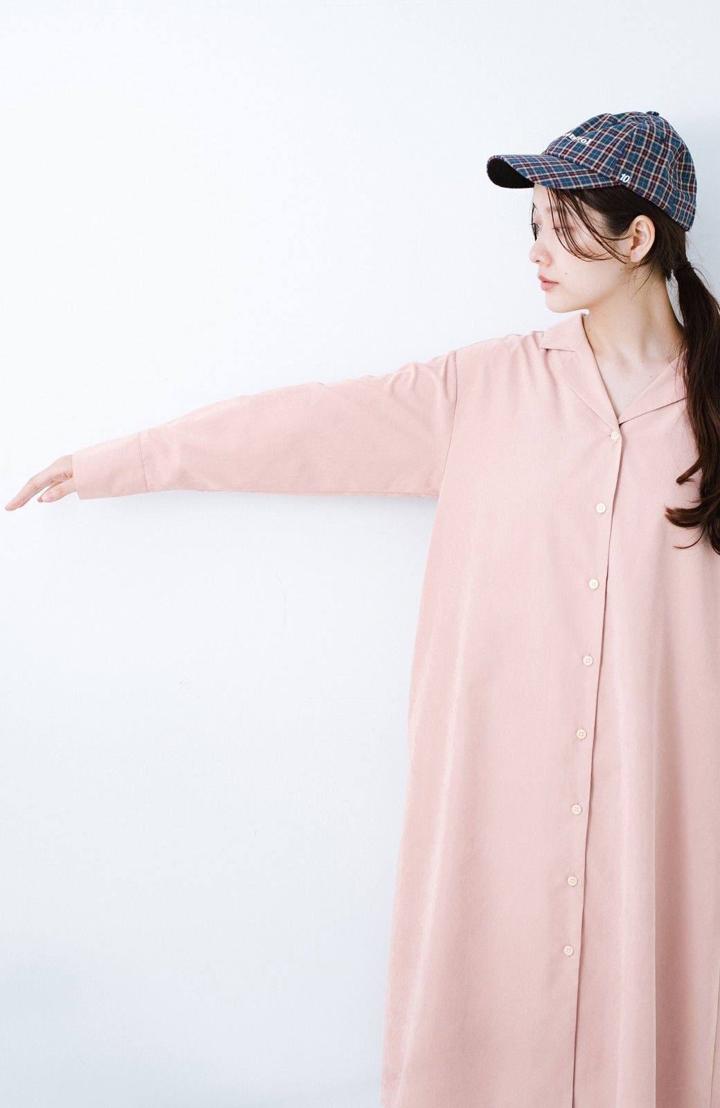 haco! 太ってもばれずに羽織っても便利なAラインワンピース <ピンク>の商品写真18