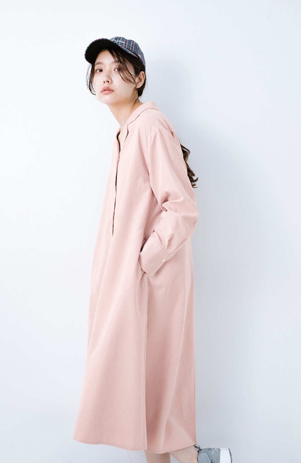 haco! 太ってもばれずに羽織っても便利なAラインワンピース <ピンク>の商品写真3