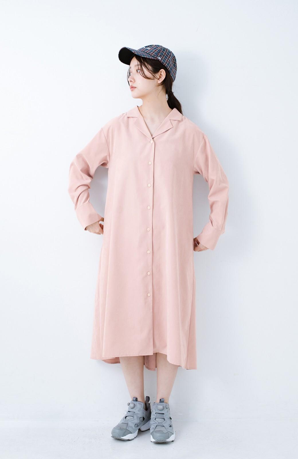 haco! 太ってもばれずに羽織っても便利なAラインワンピース <ピンク>の商品写真8