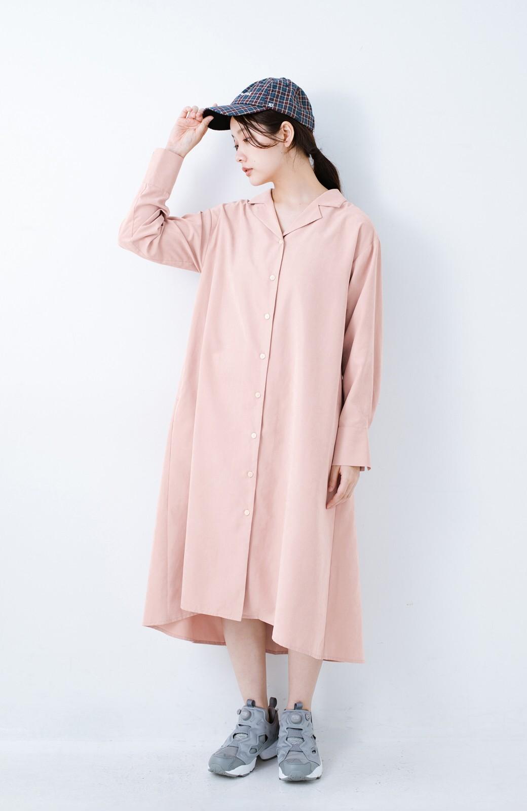 haco! 太ってもばれずに羽織っても便利なAラインワンピース <ピンク>の商品写真4