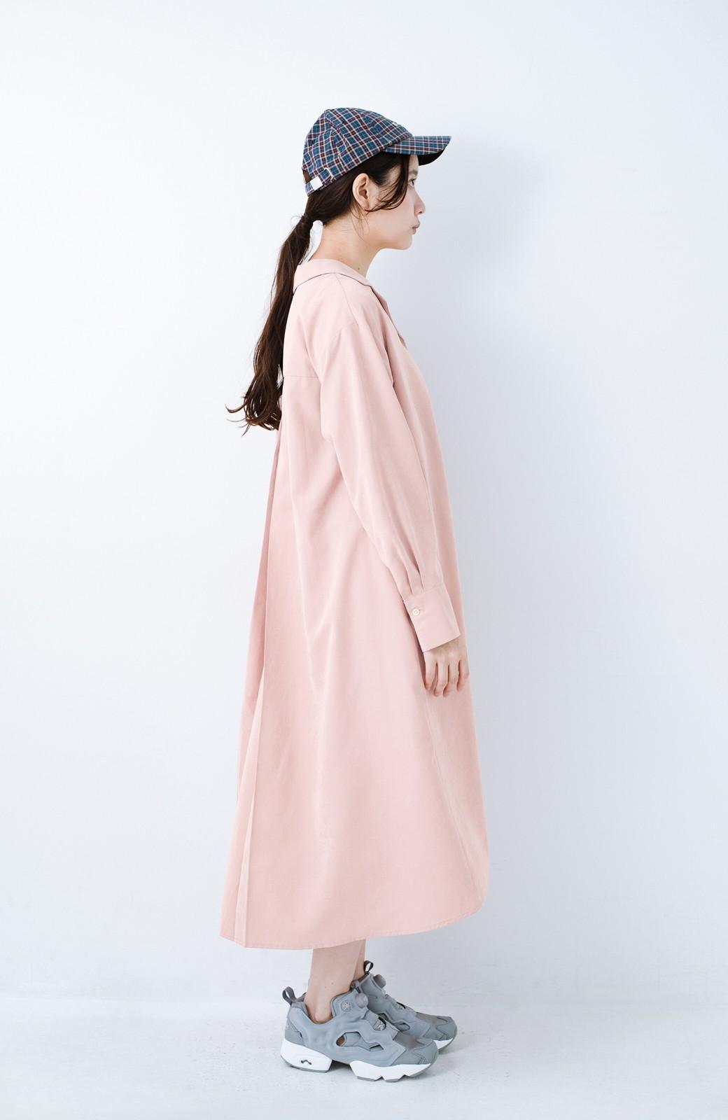 haco! 太ってもばれずに羽織っても便利なAラインワンピース <ピンク>の商品写真15