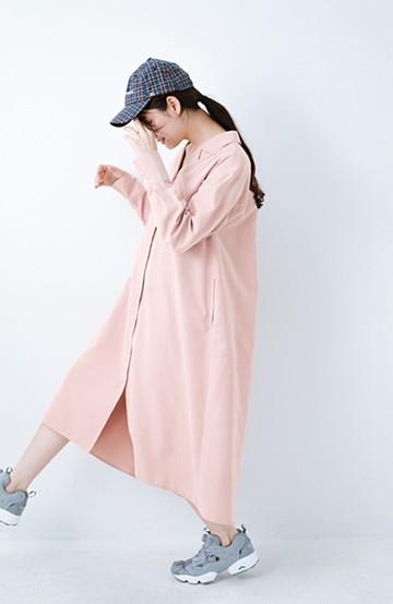 haco! 太ってもばれずに羽織っても便利なAラインワンピース <ピンク>の商品写真