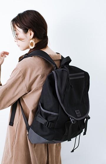 haco! anello® たくさん入る杢調素材のフラップバックパック <ブラック>の商品写真
