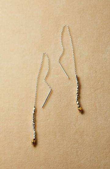 haco! 繊細な仕上がりが女性らしさを際立たせるチェーン&ビーズピアスplala by ciika  <ゴールド>の商品写真