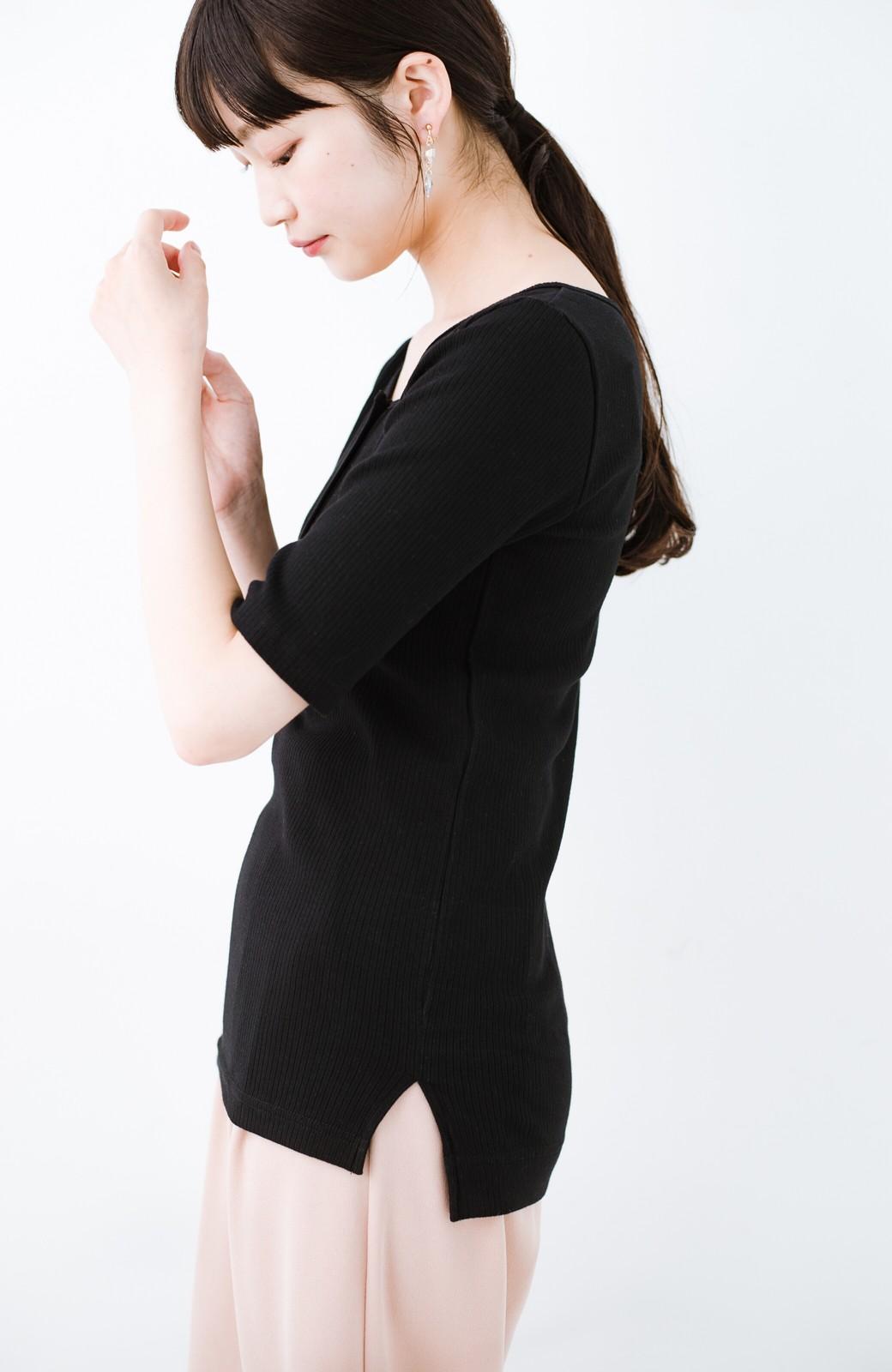 haco! シックな色づかいがコーデをキリリと引き締める女っぽヘンリーリブトップス by Z of zampa Organic  <ブラック>の商品写真10
