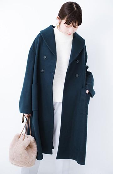 haco! パッと着るだけでオシャレに見えるテントラインロングコート <ネイビー>の商品写真