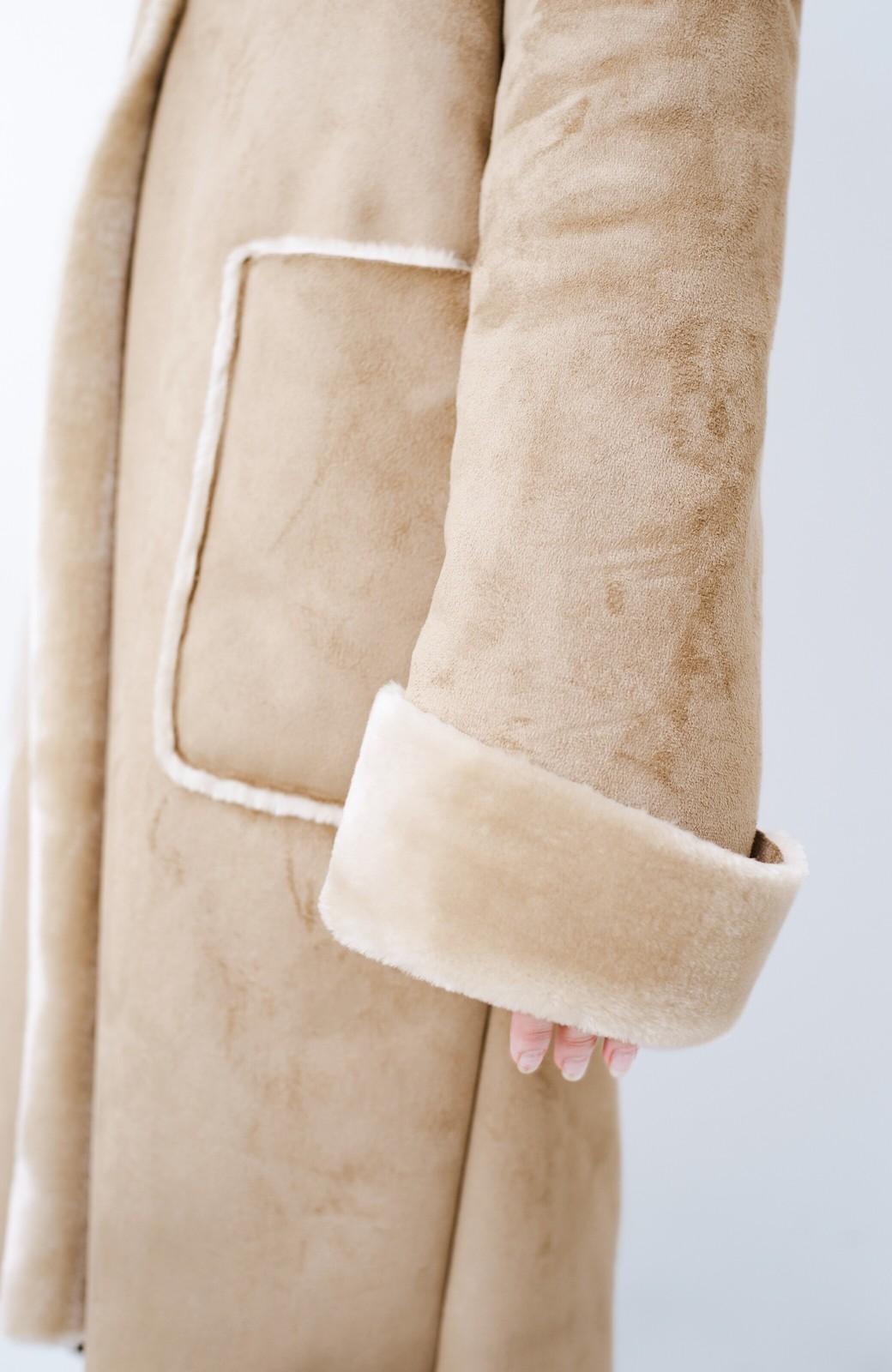 haco! これさえあれば布団から出られる! あったかかわいいフェイクムートンコート <ベージュ>の商品写真12