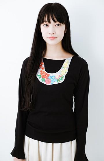 haco! Stitch by Stitch(flower)オーガニックコットンの袖フリルトップス  <ブラック>の商品写真