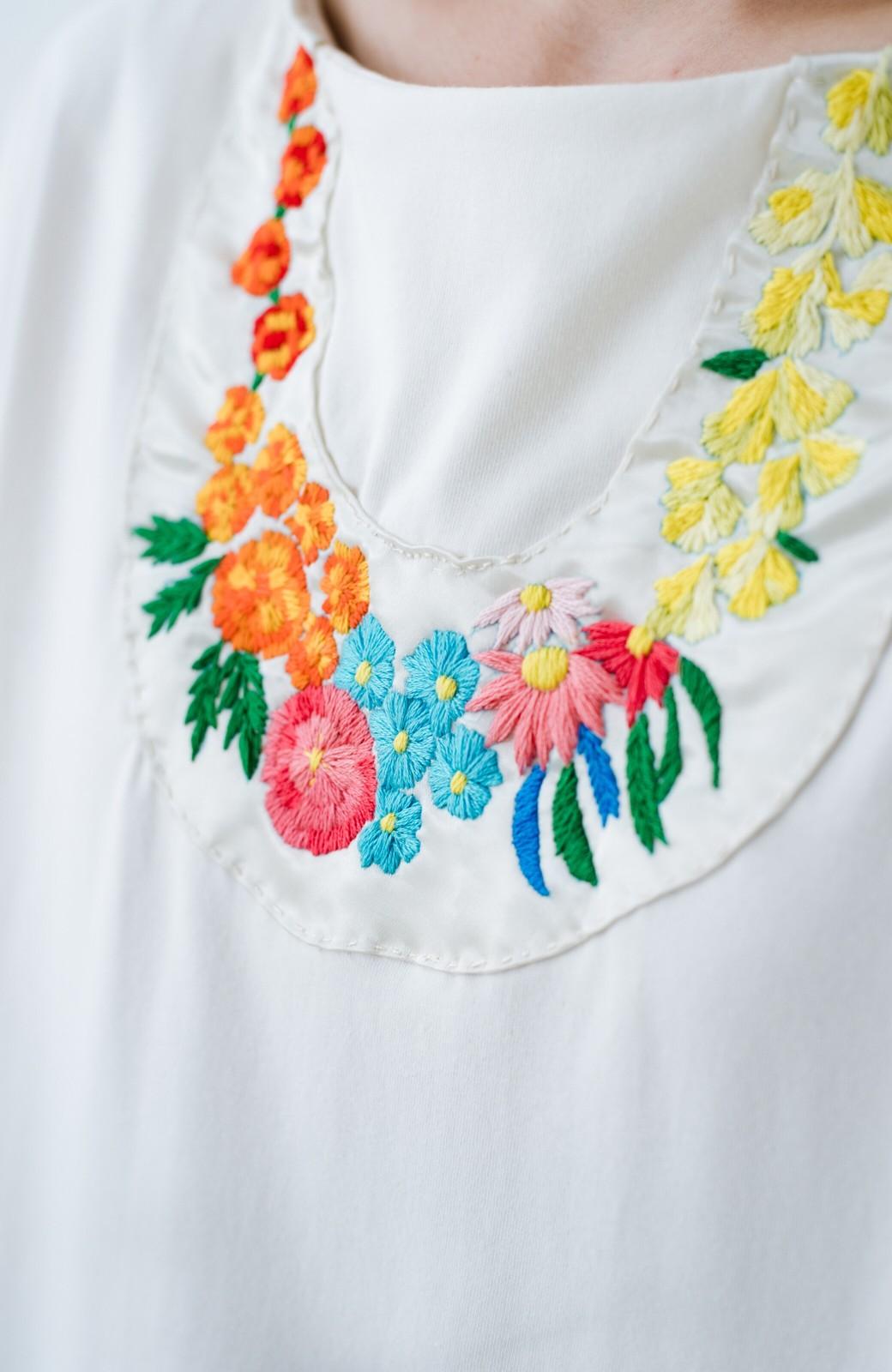 haco! Stitch by Stitch(flower)オーガニックコットンのTシャツワンピース&レギンスセット <ホワイト>の商品写真3
