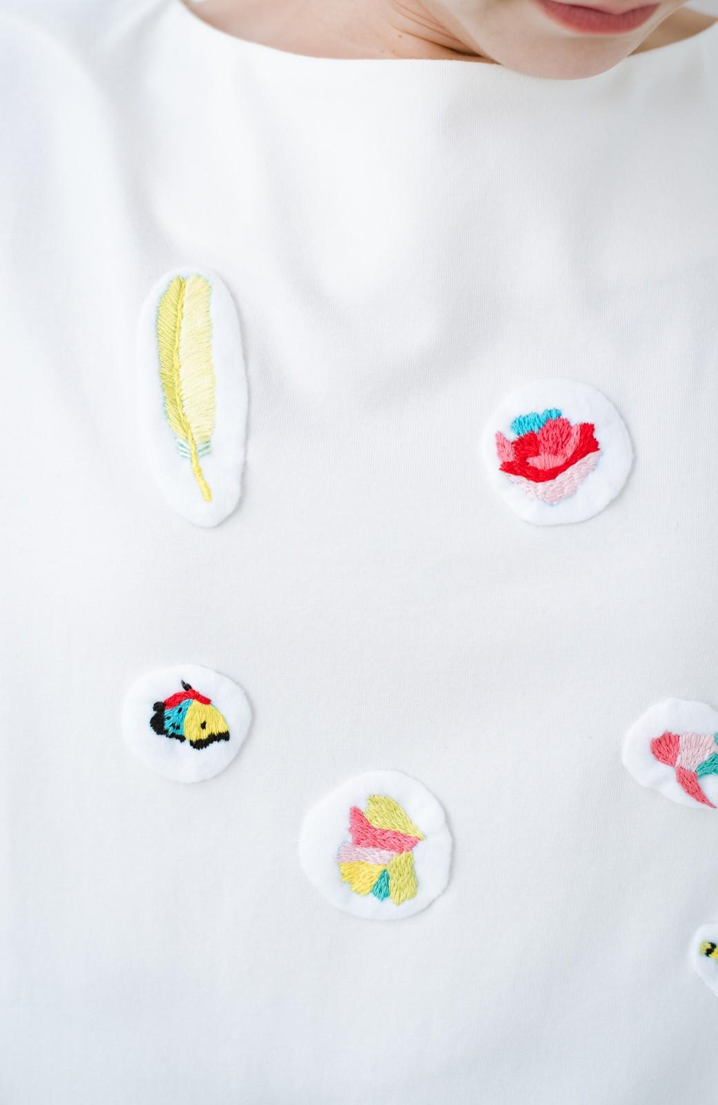 haco! Stitch by Stitch(bird) オーガニックコットンのTシャツワンピース&レギンスセット <ホワイト>の商品写真3
