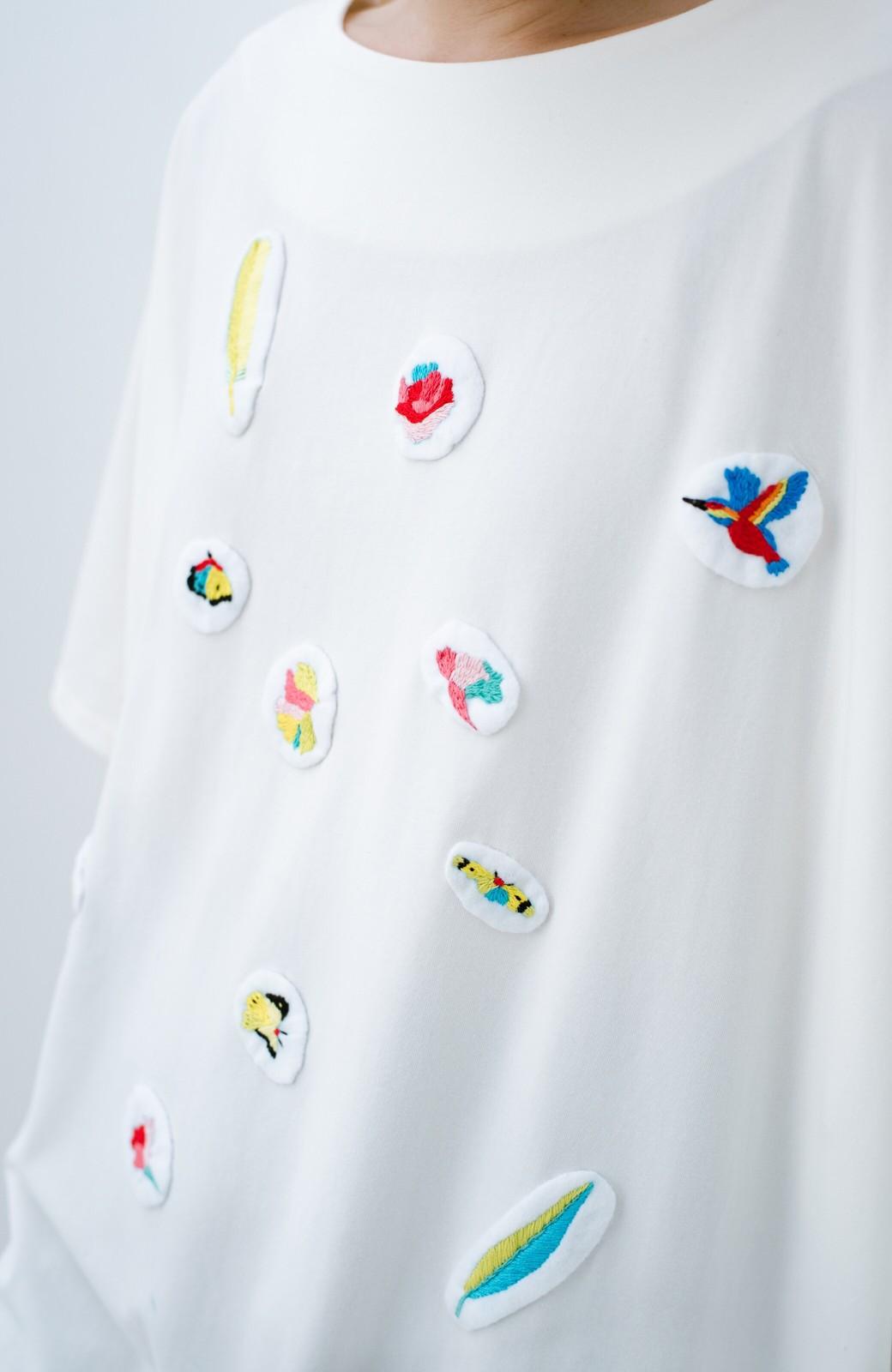 haco! Stitch by Stitch(bird) オーガニックコットンのTシャツワンピース&レギンスセット <ホワイト>の商品写真4