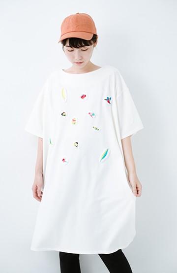 haco! Stitch by Stitch(bird) オーガニックコットンのTシャツワンピース&レギンスセット <ホワイト>の商品写真