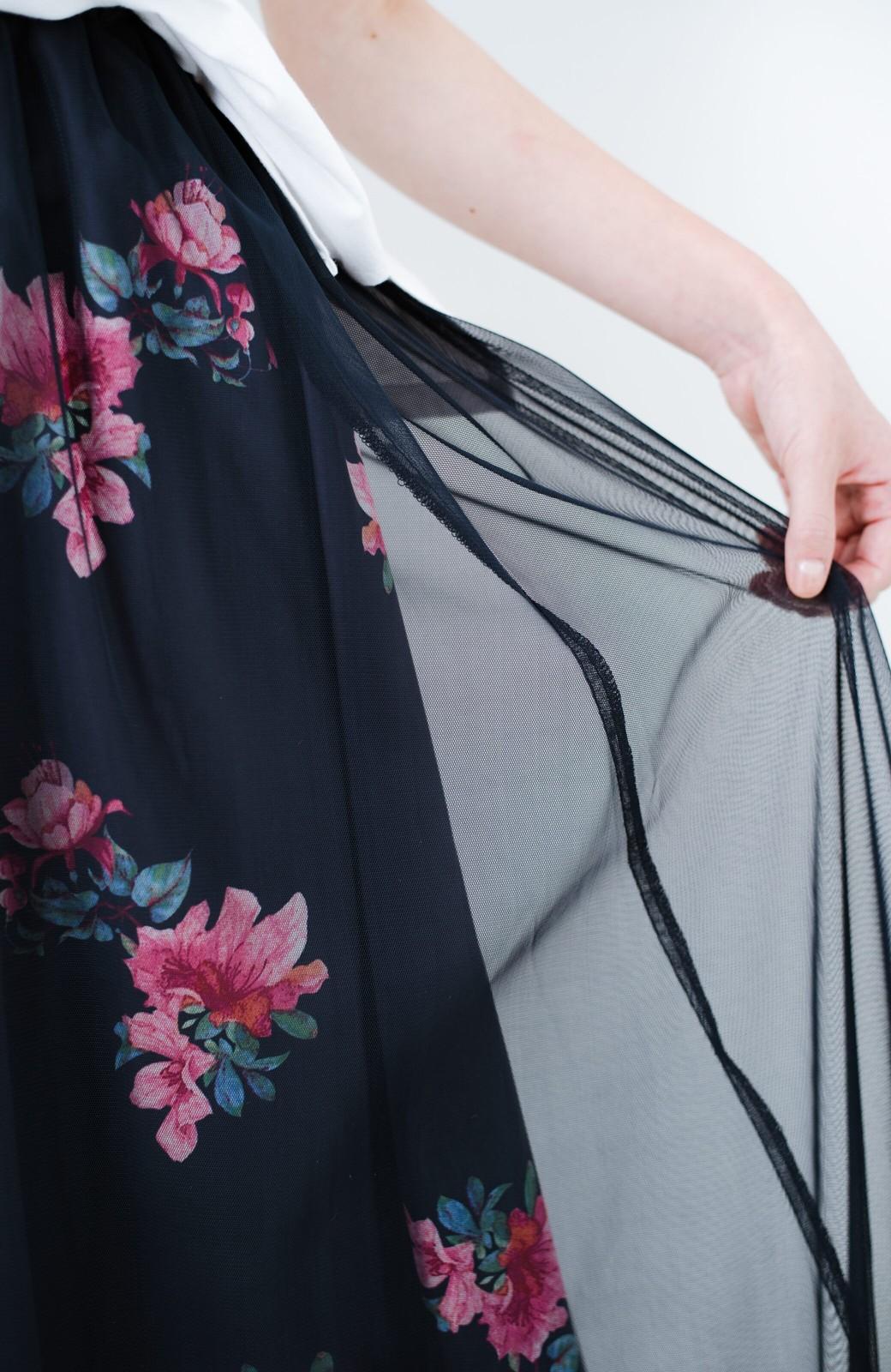 haco! ずぼらさんの味方!シンプルな無地トップスと合わせるだけでかわいくなれる柄&チュールの2枚仕立てスカート <ネイビー>の商品写真17