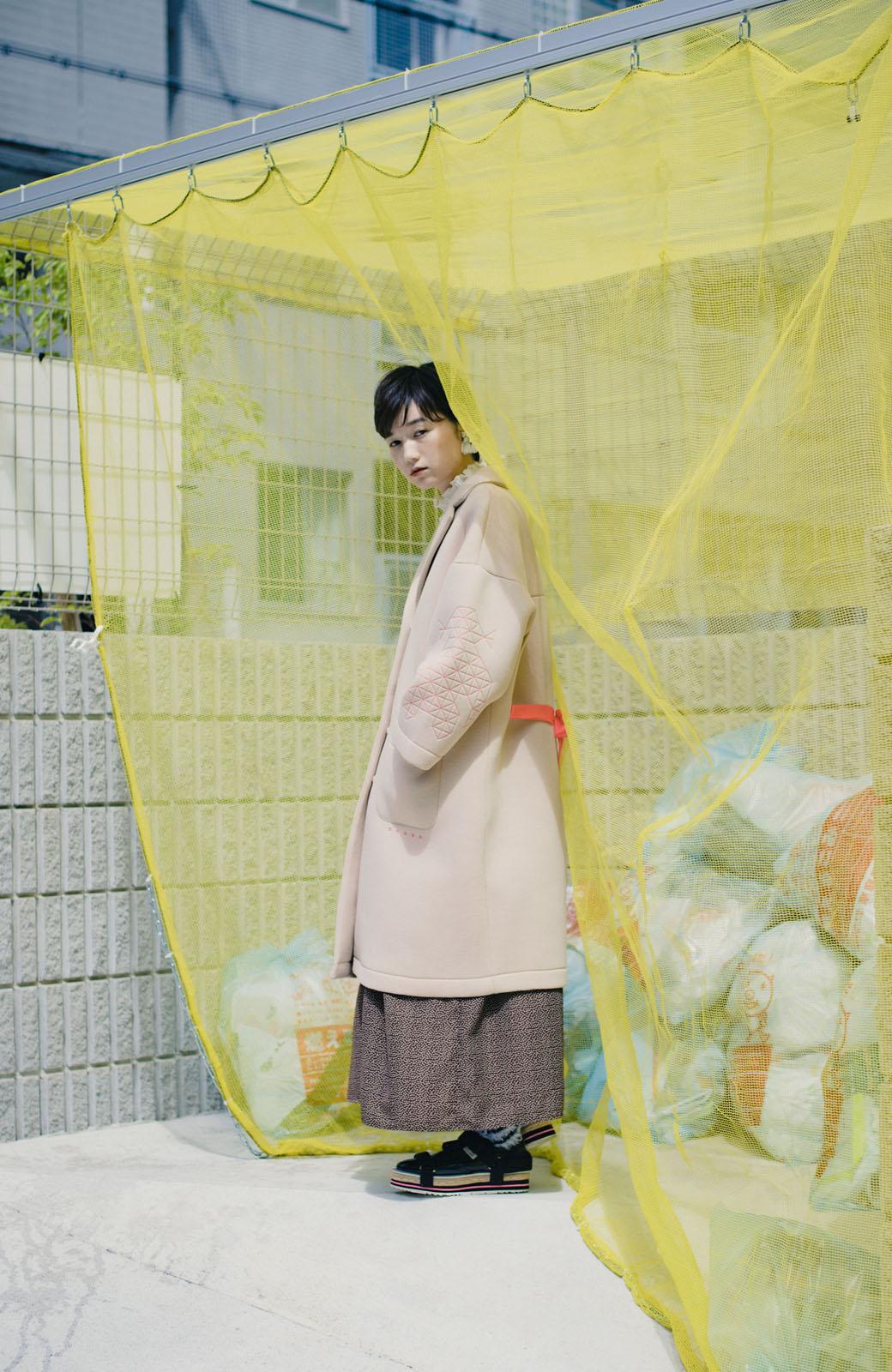 haco! haco! × RBTXCOネオンカラーで気分もUP!DOGUU(土偶)刺繍と蛍光リボンのボンディングコート <ベージュ>の商品写真7