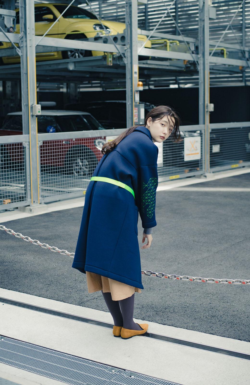 haco! haco! × RBTXCOネオンカラーで気分もUP!DOGUU(土偶)刺繍と蛍光リボンのボンディングコート <ネイビー>の商品写真10