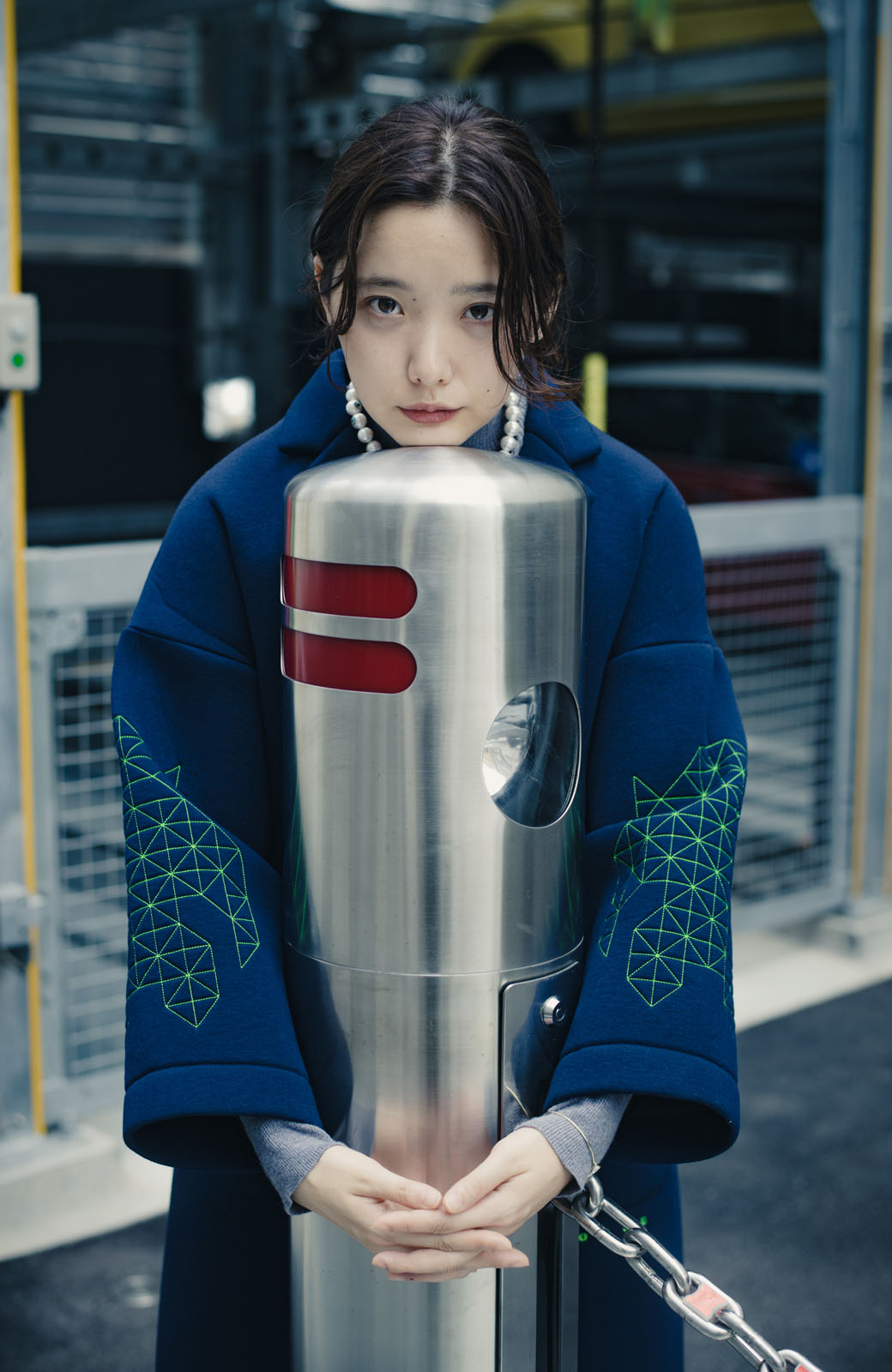 haco! haco! × RBTXCOネオンカラーで気分もUP!DOGUU(土偶)刺繍と蛍光リボンのボンディングコート <ネイビー>の商品写真11