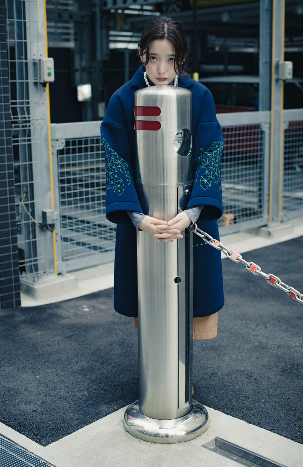 haco! haco! × RBTXCOネオンカラーで気分もUP!DOGUU(土偶)刺繍と蛍光リボンのボンディングコート <ネイビー>の商品写真12