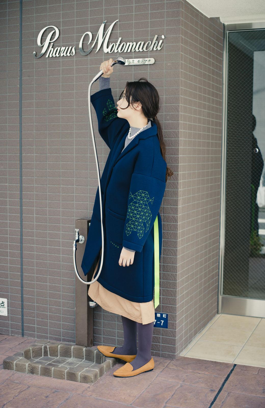 haco! haco! × RBTXCOネオンカラーで気分もUP!DOGUU(土偶)刺繍と蛍光リボンのボンディングコート <ネイビー>の商品写真3