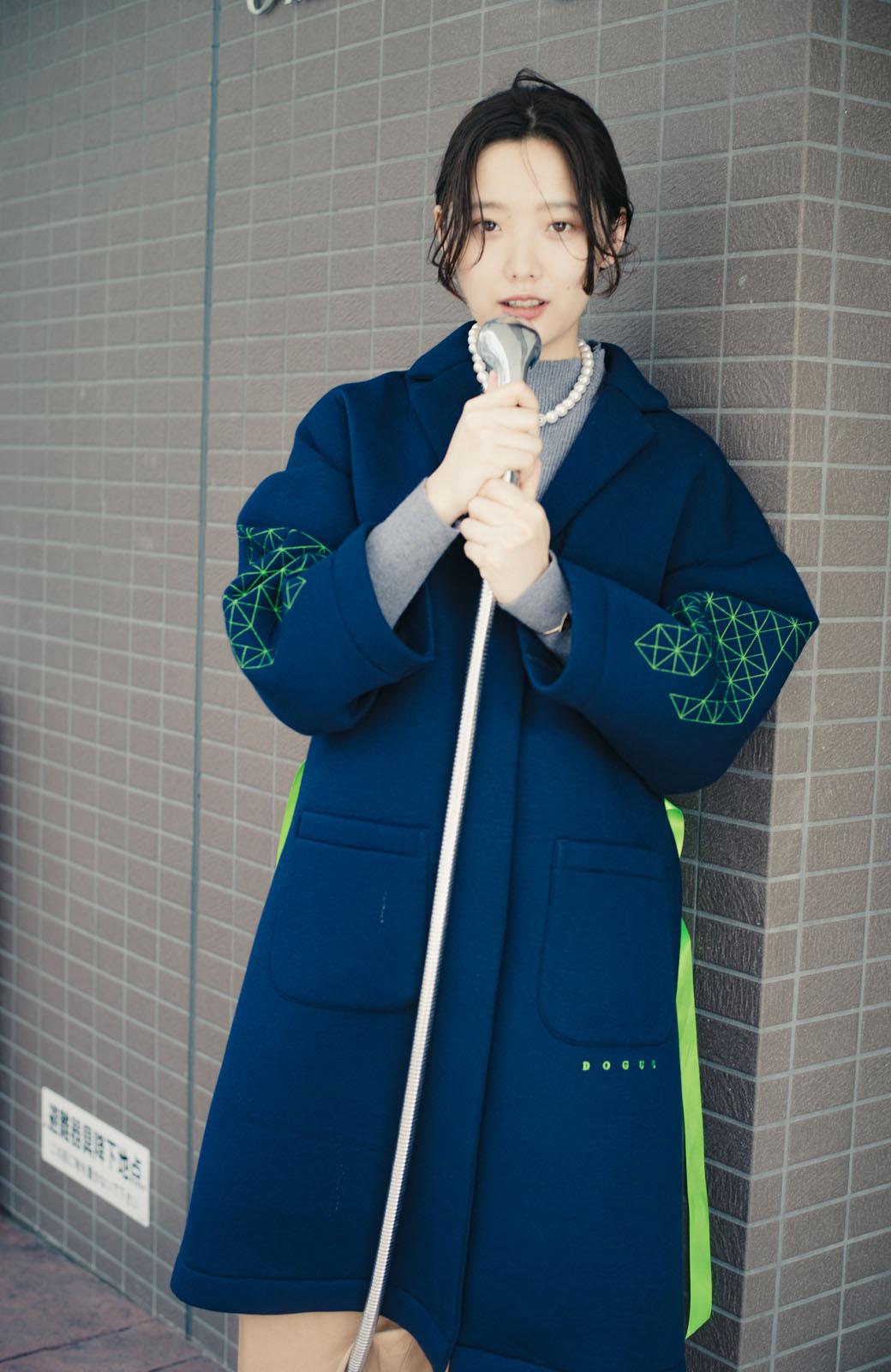 haco! haco! × RBTXCOネオンカラーで気分もUP!DOGUU(土偶)刺繍と蛍光リボンのボンディングコート <ネイビー>の商品写真21
