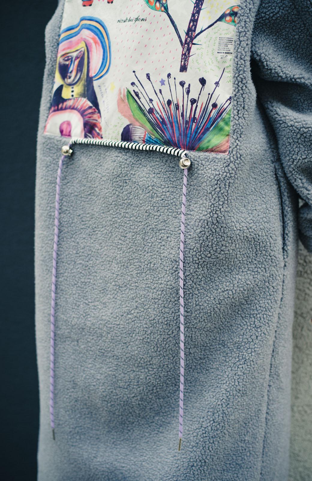 haco! haco! × RBTXCOバックデザインのアソートが楽しいイチ押しcosmic柄とボーダーリブ袖のボアコート <杢グレー>の商品写真9