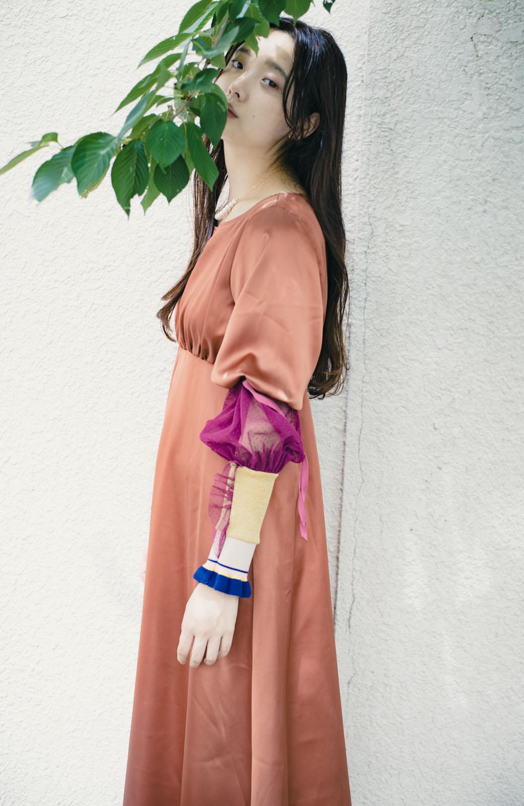 haco! haco! × RBTXCO一枚でラクチンおしゃれ!袖ふわっぼんっきゅっエンパイアワンピース <レンガ>の商品写真13
