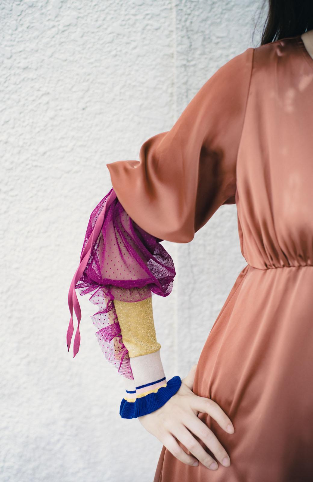 haco! haco! × RBTXCO一枚でラクチンおしゃれ!袖ふわっぼんっきゅっエンパイアワンピース <レンガ>の商品写真14