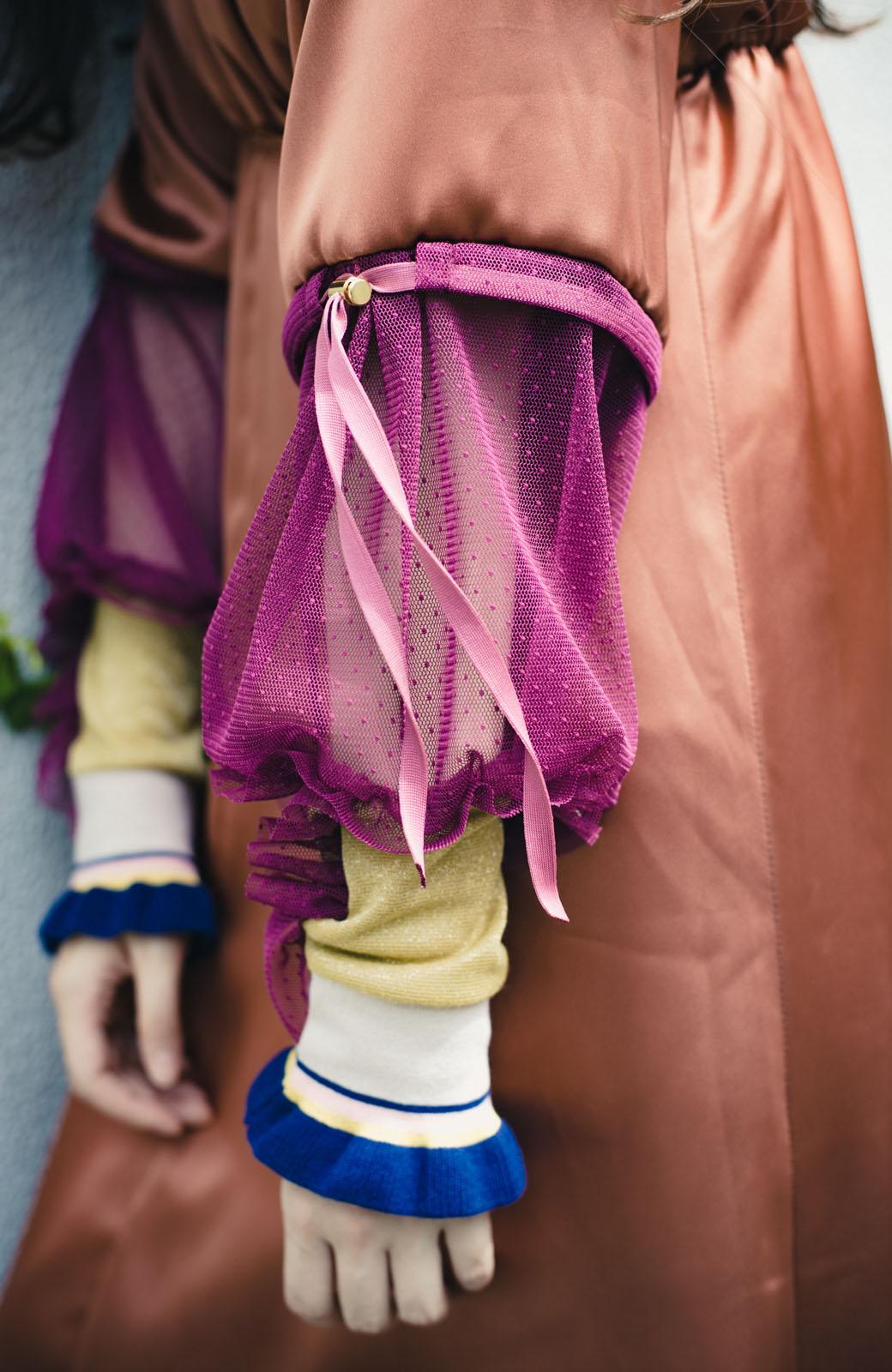 haco! haco! × RBTXCO一枚でラクチンおしゃれ!袖ふわっぼんっきゅっエンパイアワンピース <レンガ>の商品写真5