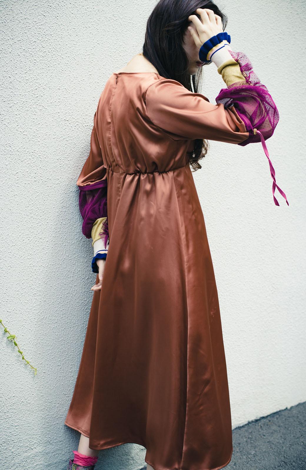 haco! haco! × RBTXCO一枚でラクチンおしゃれ!袖ふわっぼんっきゅっエンパイアワンピース <レンガ>の商品写真8