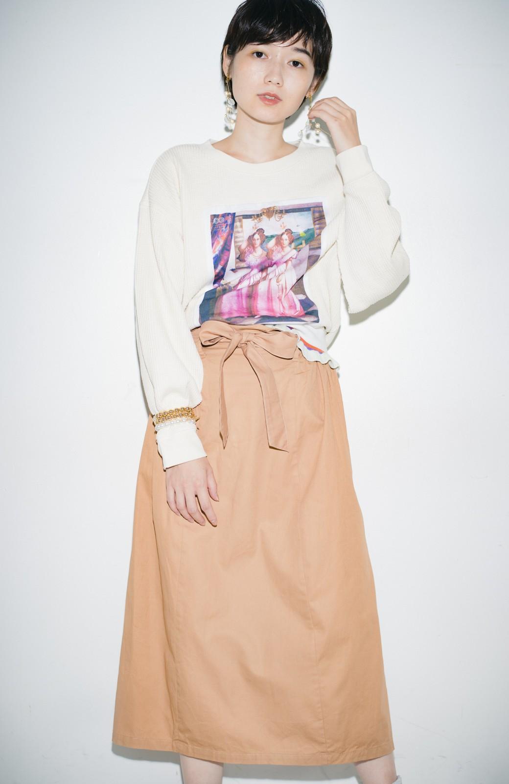 haco! haco! × RBTXCO後ろ姿にトキメキ 箔プリントとヒョウ柄ゴムのウエストリボンスカート <ベージュ>の商品写真11